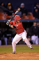 Ball State Cardinals second baseman Ryan Spaulding (5) at bat during a game against the Wisconsin-Milwaukee Panthers on February 26, 2016 at Chain of Lakes Stadium in Winter Haven, Florida.  Ball State defeated Wisconsin-Milwaukee 11-5.  (Mike Janes/Four Seam Images)