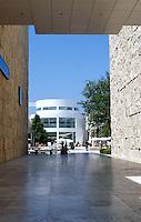 Richard Meier: The Getty Center. View from Southwest Terrace. West Pavilion (left), South Pavilion (right) to Entrance Pavilion.  Photo '99.