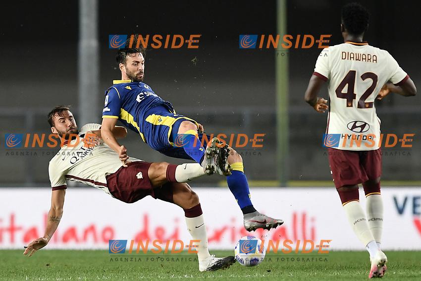 Samuel Di Carmine-Bryan Cristante <br /> Serie A football match between Hellas Verona and AS Roma at Marcantonio Bentegodi Stadium in Verona (Italy), September 19th, 2020. Photo Image Sport / Insidefoto
