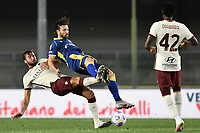 Samuel Di Carmine-Bryan Cristante <br /> Serie A football match between Hellas Verona and AS Roma at Marcantonio Bentegodi Stadium in Verona (Italy), September 19th, 2020. Photo Image Sport / Insidefoto