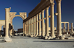 The monumental arch of the Colonnade street, Palmyra, Syria. The monumental arch erected at the orders of Septimus Severus, marks the entrance of the colonnade street. Palmyra was an important city of central Syria, located in an oasis 215 km northeast of Damascus and 180 km southwest of the Euphrates river. It had long been a vital caravan city for travelers crossing the Syrian desert and was known as the Bride of the Desert.