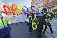 Pictured: Two anti-lesbian protesters disrupt the parade on the Kingsway. Saturday 04 May 2019<br /> Re: Swansea Pride Parade in south Wales, UK.