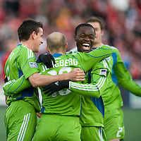 Seattle Sounder FC players celebrate the first goal during action against Toronto at BMO Field in Toronto on April 4, 2009. Seattle won 2-0. Photo by Nick Turchiaro/isiphotos.com.
