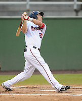 Infielder Justin Bloxom (23) of the Potomac Nationals, Carolina League affiliate of the Washington Nationals, in a game against the Salem Red Sox on June 16, 2011, at Pfitzner Stadium in Woodbridge, Va. Photo by Tom Priddy / Four Seam Images