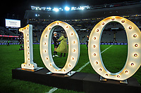 NZ's Aaron Smith celebrates his 100th cap after the Bledisloe Cup rugby match between the New Zealand All Blacks and Australia Wallabies at Eden Park in Auckland, New Zealand on Saturday, 7 August 2021. Photo: Dave Lintott / lintottphoto.co.nz