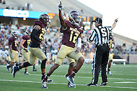 Texas State safety Germod Williams (12) celebrates an interception during first half of an NCAA Football game, Saturday, October 04, 2014 in San Marcos, Tex. Texas State leads Idaho 21-3 at the halftime(Mo Khursheed/TFV Media via AP Images)