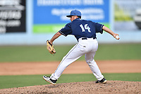 Asheville Tourists pitcher Nate Harris (14) delivers a pitch during game one of a double header against the Columbia Fireflies at McCormick Field on August 4, 2018 in Asheville, North Carolina. The Tourists defeated the Fireflies 5-1. (Tony Farlow/Four Seam Images)