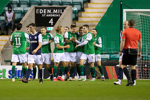 15th November 2020; Easter Road, Edinburgh, Scotland; Scottish League Cup Football, Hibernian versus Dundee FC; Melker Hallberg of Hibernian is congratulated after scoring for 4-1 in the 81st minute