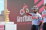 Fernando Gaviria (COL) UAE Team Emirates at sign on before the start of Stage 7 of the 103rd edition of the Giro d'Italia 2020 running 143km from Matera to Brindisi, Sicily, Italy. 9th October 2020.  <br /> Picture: LaPresse/Gian Mattia D'Alberto | Cyclefile<br /> <br /> All photos usage must carry mandatory copyright credit (© Cyclefile | LaPresse/Gian Mattia D'Alberto)