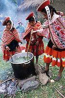Willoq, Urubamba Valley, Peru - Quechua Women Making Dye for Fabrics