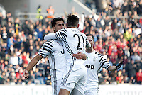 Calcio, Serie A: Sassuolo vs Juventus. Reggio Emilia, Mapei Stadium, 29 gennaio 2017. <br /> Juventus' Sami Khedira, left, celebrates with teammates Paulo Dybala, center, and Miralem Pjanic after scoring during the Italian Serie A football match between Sassuolo and Juventus at Reggio Emilia's Mapei stadium, 29 January 2017.<br /> UPDATE IMAGES PRESS/Isabella Bonotto