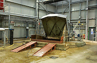 The reception pit for manure and food waste at Holsworthy bio gas plant, Devon.