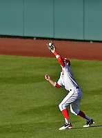 11 October 2012: Washington Nationals rookie outfielder Bryce Harper shags down a fly during Postseason Playoff Game 4 of the National League Divisional Series against the St. Louis Cardinals at Nationals Park in Washington, DC. The Nationals defeated the Cardinals 2-1 on a 9th inning, walk-off solo home run by Jayson Werth, tying the Series at 2 games apiece. Mandatory Credit: Ed Wolfstein Photo