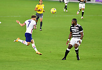 ORLANDO CITY, FL - JANUARY 31: Paul Arriola #7 of the United States heads a ball during a game between Trinidad and Tobago and USMNT at Exploria stadium on January 31, 2021 in Orlando City, Florida.