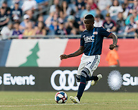 FOXBOROUGH, MA - JULY 27: Luis Caicedo #27 passes the ball during a game between Orlando City SC and New England Revolution at Gillette Stadium on July 27, 2019 in Foxborough, Massachusetts.
