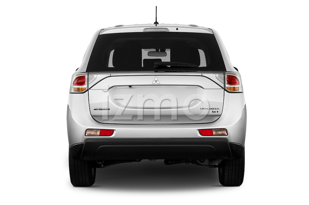 Straight rear view of a 2014 Mitsubishi Outlander Instyle 5 Door SUV stock images