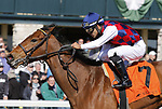 April 02, 2021: Twenty Carat #7 ridden by Luis Saez wins the Beaumont Stakes (Grade 3) on Keeneland Opening Day at Keeneland Race Course in Lexington, Kentucky on April 02, 2021. Candice Chavez/Eclipse Sportswire/CSM