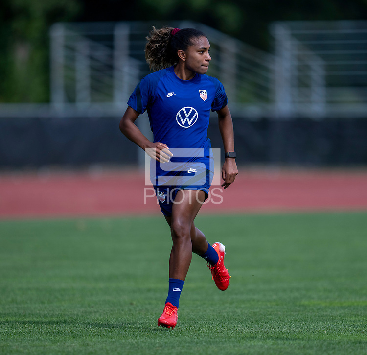 CLEVELAND, OH - SEPTEMBER 14: Catarina Macario of the United States runs during a training session at the training fields on September 14, 2021 in Cleveland, Ohio.