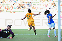 Carson, CA - Thursday August 03, 2017: Dani Neuhaus, Sam Kerr, Leticia during a 2017 Tournament of Nations match between the women's national teams of Australia (AUS) and Brazil (BRA) at the StubHub Center.