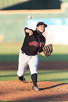 AZL Indians 1 relief pitcher Aaron Pinto (52) delivers a pitch during an Arizona League playoff game against the AZL Rangers at Goodyear Ballpark on August 28, 2018 in Goodyear, Arizona. The AZL Rangers defeated the AZL Indians 1 7-4. (Zachary Lucy/Four Seam Images)