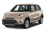 2014 Fiat 500L Trekking 5 Door Hatchback Angular Front stock photos of front three quarter view