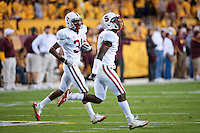 TEMPE, AZ - November 13, 2010: Michael Thomas (3) and Barry Browning (31) during a football game at Arizona State University in Tempe, Arizona. Stanford won 17-13.