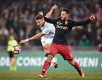 Calcio, Serie A: Lazio - Genoa, Roma, Stadio Olimpico, 5 Febbraio 2018. <br /> Lazio's Ciro Immobile (l) in action with Genoa's Andrea Bertolacci (r) during the Italian Serie A football match between Lazio and Genoa at Rome's Stadio Olimpico, February 5, 2018.<br /> UPDATE IMAGES PRESS/Isabella Bonotto