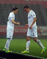 Pictured: Tom Plezier of Swansea City (R) is substituted by Aaron Lewis Monday 13 March 2017<br /> Re: Premier League 2, Swansea City U23 v Wolverhampton Wanderers FC at the Liberty Stadium, Swansea, UK