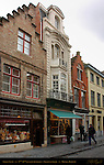 Street Scene: 17th-18th century Shops and Buildings, Gelmuntstraat near Eiermarkt Egg Market, Bruges, Brugge, Belgium