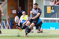 Jarrod Sammut of London Broncos converts his opening try during the Kingstone Press Championship match between London Broncos and Sheffield Eagles at Castle Bar , West Ealing , England  on 9 July 2017. Photo by David Horn.