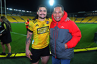 Hurricanes' Du'Plessis Kirifi with his dad Jack after the Super Rugby Tran-Tasman match between the Hurricanes and Reds at Sky Stadium in Wellington, New Zealand on Friday, 11 June 2020. Photo: Dave Lintott / lintottphoto.co.nz