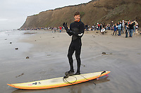 Ryan Seelbach on shore before paddling out to the jet ski during the first round of the 2008 Mavericks Surf Contest from the in Half Moon Bay, Calif., Saturday, January 12, 2008...Photo by David Calvert/isiphotos.com