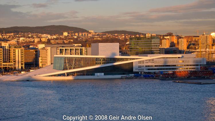 The new Opera-house at Oslo harbor,  at sundown.