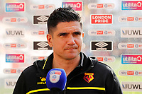 1st May 2021; Brentford Community Stadium, London, England; English Football League Championship Football, Brentford FC versus Watford; A disappointed Watford Manager Xisco Munoz answering questions from the written press after full time
