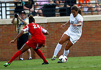 WINSTON-SALEM, NORTH CAROLINA - September 01, 2013:<br /> Rachel Melhado (24) of Louisville University defends against Katie Stengel (12) of Wake Forest University during a match at the Wake Forest Invitational tournament at Wake Forest University on September 01. The match was abandoned early in the second half due to severe weather with Wake leading 1-0.