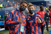 KANSAS CITY, KS - JULY 15: Paul Arriola #7 and Reggie Cannon #20 of the United States during a game between Martinique and USMNT at Children's Mercy Park on July 15, 2021 in Kansas City, Kansas.