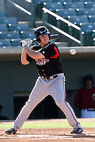 Connor Powers #33 of the Lake Elsinore Storm bats against the Lancaster JetHawks at Clear Channel Stadium on May 11, 2012 in Lancaster,California. (Larry Goren/Four Seam Images)