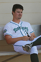Daytona Tortugas pitcher Nick Travieso (21) before a game against the Clearwater Threshers at Radiology Associates Field at Jackie Robinson Ballpark on May 9, 2015 in Daytona, Florida. Clearwater defeated Daytona 7-0. (Robert Gurganus/Four Seam Images)