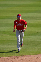 Philadelphia Phillies shortstop Bryson Stott (73) jogs to the dugout during a Major League Spring Training game against the Baltimore Orioles on March 12, 2021 at the Ed Smith Stadium in Sarasota, Florida.  (Mike Janes/Four Seam Images)