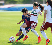 20190301 - LARNACA , CYPRUS : Mexican Katty Martinez (r) pictured in a duel with Thai Phetwiset Warunee (left) during a women's soccer game between Thailand and Mexico , on Friday 1 March 2019 at the GSZ Stadium in Larnaca , Cyprus . This is the second game in group B for both teams during the Cyprus Womens Cup 2019 , a prestigious women soccer tournament as a preparation on the FIFA Women's World Cup 2019 in France . PHOTO SPORTPIX.BE | DAVID CATRY