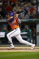 Bryar Hawkins (44) of the Clemson Tigers follows through on his swing against the Charlotte 49ers at BB&T BallPark on March 26, 2019 in Charlotte, North Carolina. The Tigers defeated the 49ers 8-5. (Brian Westerholt/Four Seam Images)