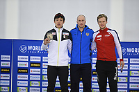 SPEEDSKATING: SALT LAKE CITY: Utah Olympic Oval, 10-03-2019, ISU World Cup Finals, Podium World Cup 500m Men, Tatsuya Shinhama (JPN), Pavel Kulizhnikov (RUS), Håvard Holmefjord Lorentzen (NOR), ©Martin de Jong
