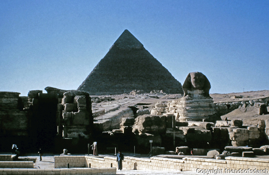 Pyramid of Khafre, second-tallest and second-largest of the Ancient Egyptian Pyramids of Giza.