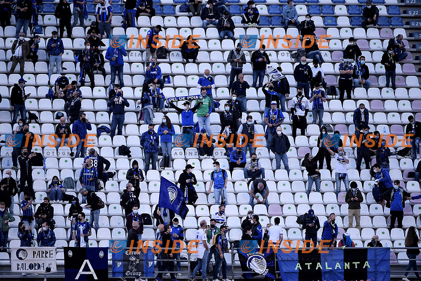 Fans attend the Italy Cup final football match between Atalanta BC and Juventus FC at Citta del Tricolore stadium in Reggio Emilia (Italy), May 19th 2021. 4300 spectators were allowed to attend the match after more than one year of closed doors matches. Photo Federico Tardito / Insidefoto