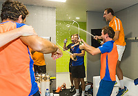 The Hague, The Netherlands, September 17, 2017,  Sportcampus , Davis Cup Netherlands - Chech Republic, Fifth match : Dutch team celebrates in dressing room<br /> Photo: Tennisimages/Henk Koster