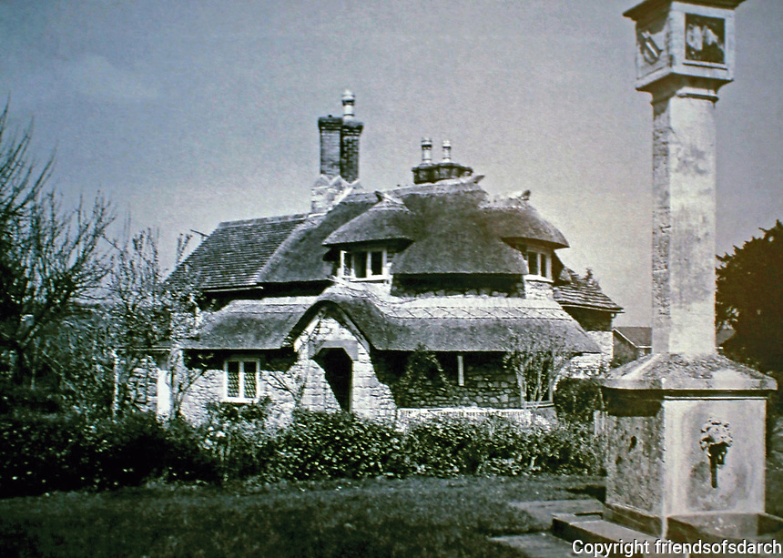 Blaise Hamlet:  Dial Cottage with sundial pump. Designed by John Nash, 1810-1811.