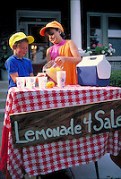 Children prepare and sell lemonade in front of their home as young entrepreneurs finding customers. boy and girl.