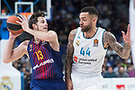 Real Madrid Jeffery Taylor and FC Barcelona Lassa Thomas Heurtel during Turkish Airlines Euroleague match between Real Madrid and FC Barcelona Lassa at Wizink Center in Madrid, Spain. December 14, 2017. (ALTERPHOTOS/Borja B.Hojas)