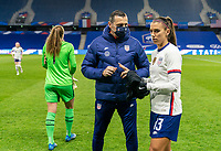 LE HAVRE, FRANCE - APRIL 13: Vlatko Andonovski of the USWNT talks with Alex Morgan #13 before a game between France and USWNT at Stade Oceane on April 13, 2021 in Le Havre, France.