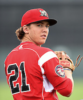 Batavia Muckdogs pitcher Michael Mader (21) poses for a photo before a game against the Jamestown Jammers on July 7, 2014 at Dwyer Stadium in Batavia, New York.  Batavia defeated Jamestown 9-2.  (Mike Janes/Four Seam Images)